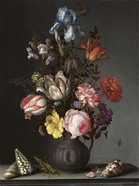 van der Ast | Flowers in a Vase with Shells and Insects, a.1630 | Giclée Canvas Print