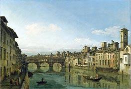 Bernardo Bellotto | The Arno in Florence with the Ponte Vecchio | Giclée Canvas Print