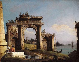 Bernardo Bellotto | Capriccio with a Triumphal Arch on the Banks of the Lagoon, c.1743 | Giclée Canvas Print