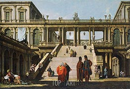 Bernardo Bellotto | Architectural Fantasy with a Palace Stairway, 1762 | Giclée Canvas Print