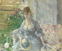 Young Woman Seated on a Sofa, c.1879 by Berthe Morisot | Giclée Canvas Print