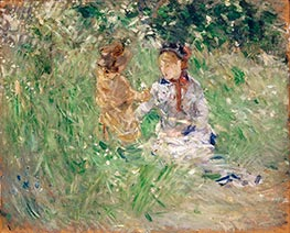 Woman and Child in a meadow at Bougival, Undated by Berthe Morisot | Giclée Canvas Print