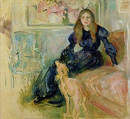 Julie Manet and Her Greyhound Laertes, 1893 by Berthe Morisot | Giclée Canvas Print