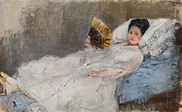 Woman with a Fan. Portrait of Madame Marie Hubbard, 1874 by Berthe Morisot | Giclée Canvas Print