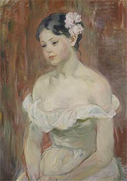 Young Girl in a Low Cut Dress with a Flower in Her Hair, 1893 by Berthe Morisot | Giclée Canvas Print