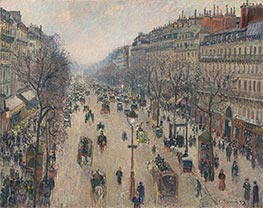 Pissarro | Boulevard Montmartre, Morning, Cloudy Weather | Giclée Canvas Print