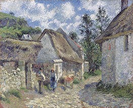 Pissarro | Rue des Roches in Valhermeil in Auvers-sur-Oise, Cottages and Cow | Giclée Canvas Print
