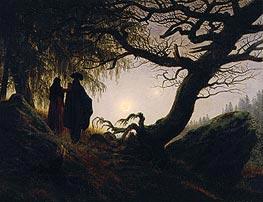 Caspar David Friedrich | Man and Woman Contemplating the Moon, c.1824 by | Giclée Canvas Print