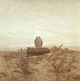Caspar David Friedrich | Landscape with Grave, Coffin and Owl, undated | Giclée Paper Print