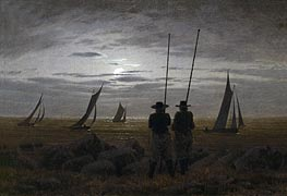 Caspar David Friedrich | Moonlit Night on the Beach with Fishermen, 1817 | Giclée Canvas Print