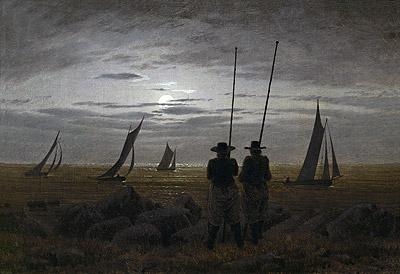 Moonlit Night on the Beach with Fishermen, 1817 | Caspar David Friedrich | Painting Reproduction