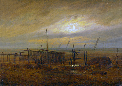 Seashore by Moonlight, 1818 | Caspar David Friedrich | Painting Reproduction