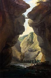 Caspar Wolf | Bridge and Gorges of Dala River in Leuekerbad, View towards the Mountain, c.1774/77 | Giclée Canvas Print