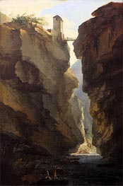 Caspar Wolf | Bridge and Gorges of Dala River in Leuekerbad, View towards the Valley | Giclée Canvas Print