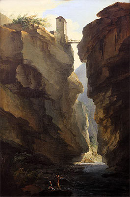 Bridge and Gorges of Dala River in Leuekerbad, View towards the Valley, c.1774/77   Caspar Wolf   Painting Reproduction