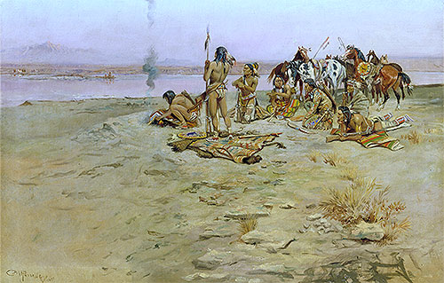 The Signal Fire, 1897   Charles Marion Russell   Painting Reproduction