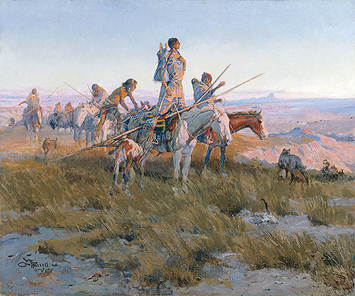 In the Wake of the Buffalo Runners, 1911 | Charles Marion Russell | Painting Reproduction