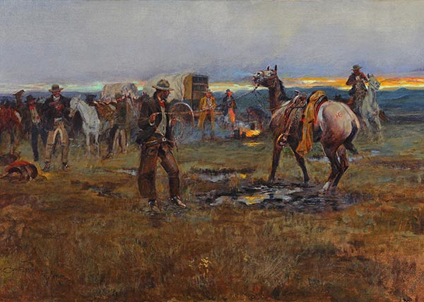 When Horses Talk There's Slim Chance for Truce, 1915 | Charles Marion Russell | Painting Reproduction
