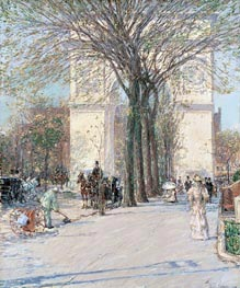 Hassam | Washington Arch, Spring | Giclée Canvas Print