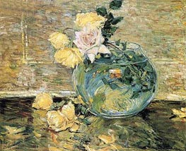 Hassam | Roses in a Vase, 1890 | Giclée Canvas Print