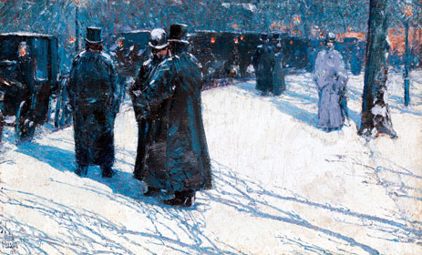 Cab Stand at Night, Madison Square, 1891 | Hassam | Painting Reproduction