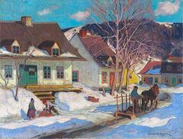 Clarence Gagnon   A Québec Village Street, Winter, 1920   Giclée Canvas Print