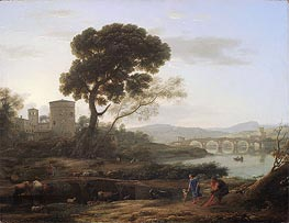 Claude Lorrain | Landscape near Rome with a View of the Ponte Molle, 1645 | Giclée Canvas Print