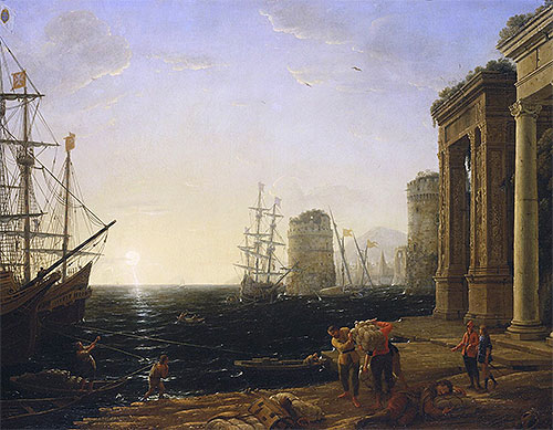 Harbour Scene at Sunset, 1643 | Claude Lorrain | Painting Reproduction