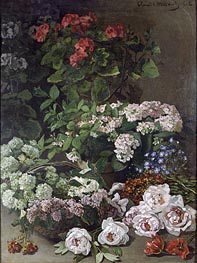 Monet | Spring Flowers, 1864 by | Giclée Canvas Print