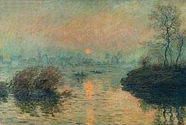 Monet | Sun Setting over the Seine at Lavacourt. Winter Effect | Giclée Canvas Print