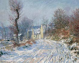 Monet | The Road to Giverny, Winter, 1885 | Giclée Canvas Print