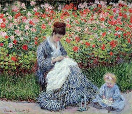 Monet | Camille Monet and a Child in the Artist's Garden in Argenteuil, 1875 | Giclée Canvas Print
