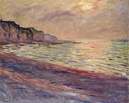 Monet | The Beach at Pourville, Setting Sun, 1882 | Giclée Canvas Print