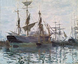 Monet | Ships in a Harbor, c.1873 | Giclée Canvas Print
