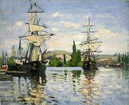 Monet | Ships Riding on the Seine at Rouen, c.1872/73 | Giclée Canvas Print