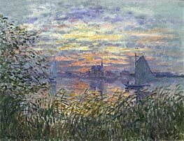 Monet | Marine View with a Sunset, c.1875 | Giclée Canvas Print