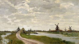 Monet | Windmills Near Zaandam | Giclée Canvas Print