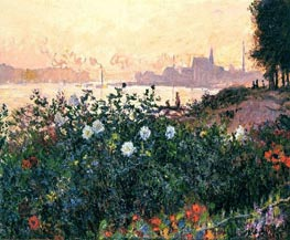 Monet | Argenteuil, the Bank in Flower | Giclée Canvas Print