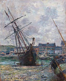 Monet | Boats Lying at Low Tide at Fecamp, 1881 | Giclée Canvas Print