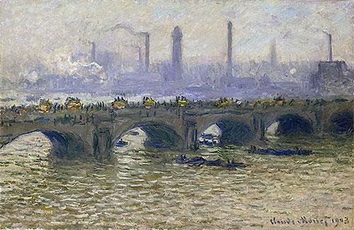 Waterloo Bridge - Overcast Skies, 1903 | Monet | Painting Reproduction