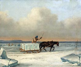 Cornelius Krieghoff | The Ice Cutters on the St. Lawrence at Longueuil | Giclée Canvas Print