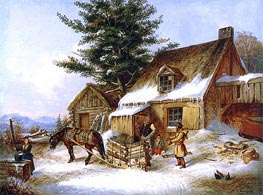 Cornelius Krieghoff | Bargaining for a Load of Wood | Giclée Canvas Print