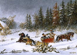 Cornelius Krieghoff   A Winter Incident   Giclée Canvas Print