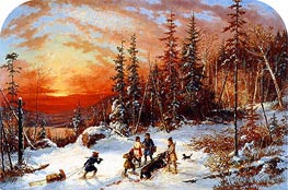 Cornelius Krieghoff | Death of the Moose at Sunset, Lake Famine South of Quebec | Giclée Canvas Print