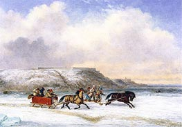 Cornelius Krieghoff | Sleigh Race on the St. Lawrence at Quebec, 1852 | Giclée Canvas Print