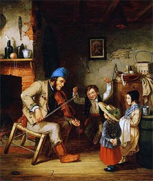 Cornelius Krieghoff | Fiddler and Boy Doing Jig, 1852 | Giclée Canvas Print