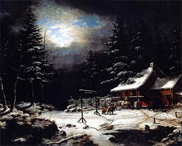 Cornelius Krieghoff | White Horse Inn by Moonlight, 1851 | Giclée Canvas Print