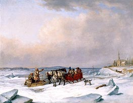 Cornelius Krieghoff | The Ice Bridge at Longue-Pointe, c.1848 | Giclée Canvas Print