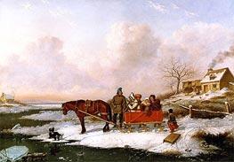 Cornelius Krieghoff | Habitant Sleigh, View near the Canada Line, c.1847 | Giclée Canvas Print