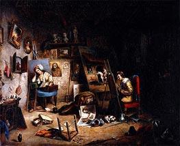 Cornelius Krieghoff | The Artist's Studio, c.1845 | Giclée Canvas Print